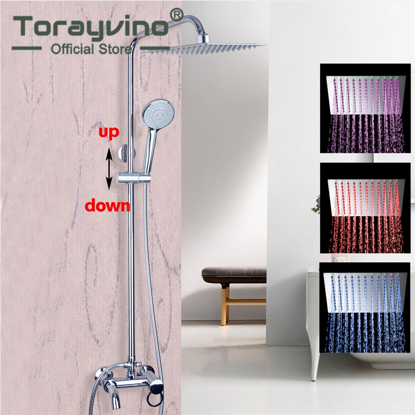 Torayvino Shower Faucet Wall Mounted Polished Chrome Mixer 8 Rainfall Shower Faucet Set with Bathroom Shower Hand Set free shipping polished chrome finish new wall mounted waterfall bathroom bathtub handheld shower tap mixer faucet yt 5333