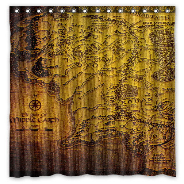 The Lord of The Rings Pattern Creative Bath Shower Curtains ...