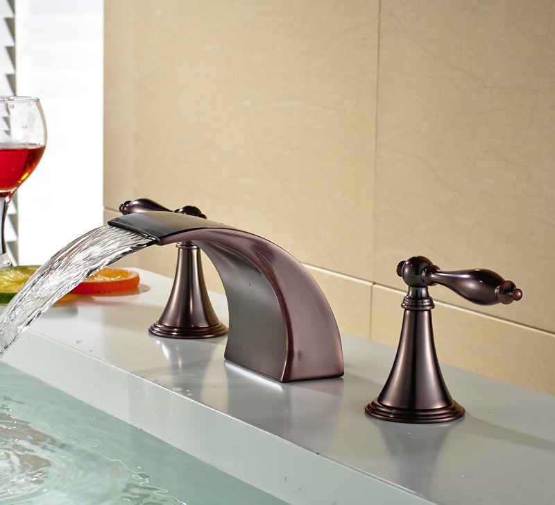 Widespread 3 Holes Basin Mixer Tap Bathroom Waterfall Faucet Oil Rubbed Bronze In Faucets From Home Improvement On Aliexpress Alibaba Group