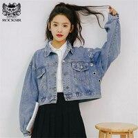 Rocksir Spring Short Denim Jacket Women 2018 Vintage Harajuku Oversized Jeans Coat Girls Loose Cropped Jacket