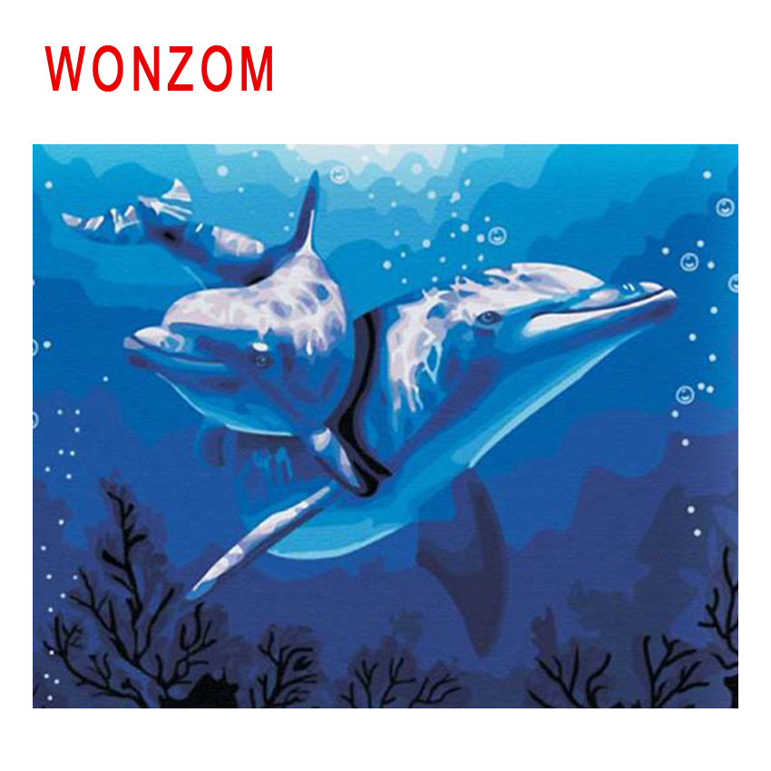 WONZOM Ocean Diy Painting By Numbers Abstract Dolphin Oil ...