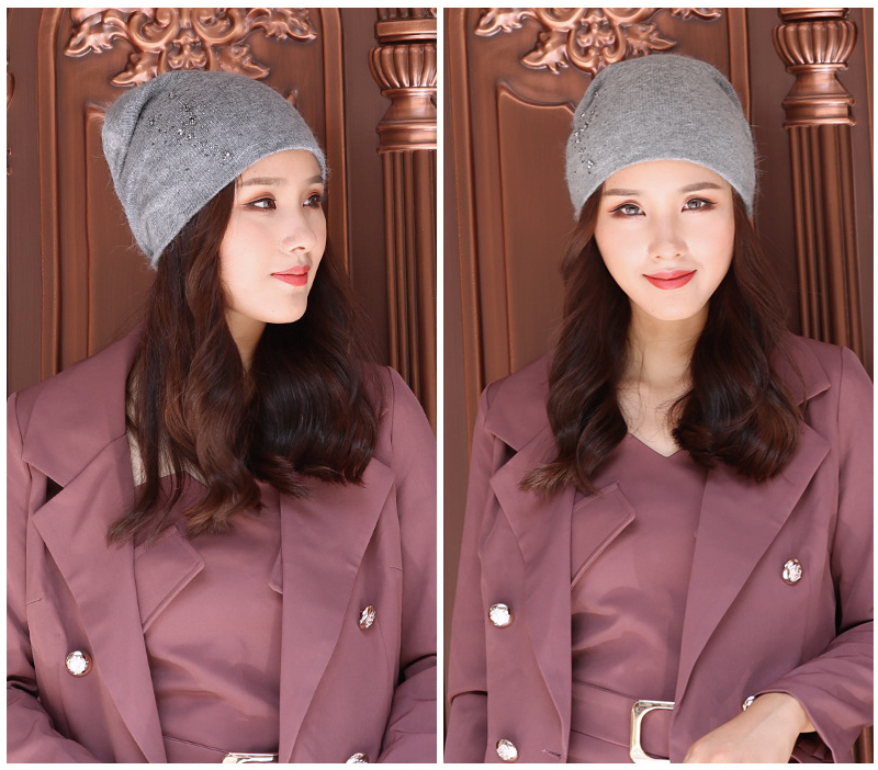 Beanie Women Winter Angora Knit Hat Warm Rhinestone Headwear  Soft Casual Slouch Stretchy Outdoor Ski Accessory (5)