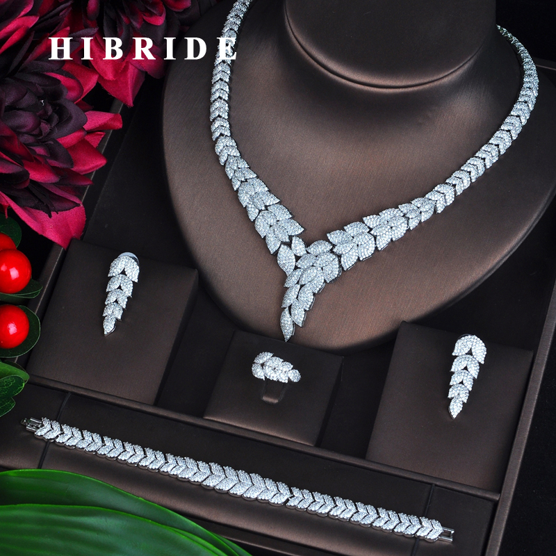 HIBRIDE New 4 pcs Necklace Earring Ring Bracelet Bridal Jewelry Set Wedding Accessories boucle d oreille Wholesale N-703 4pcs bridal fashion flower cubic zirconia inlaid wedding necklace dangle earrings bracelet ring jewelry set boucle d oreille