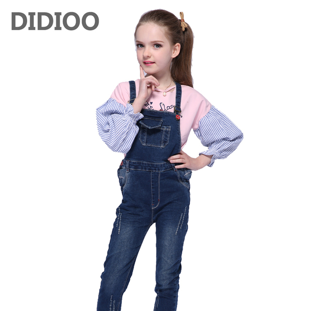 95d06b6a6 Girls Denim Overalls for Kids Jeans Pants for Girls Jumpsuit Autumn ...