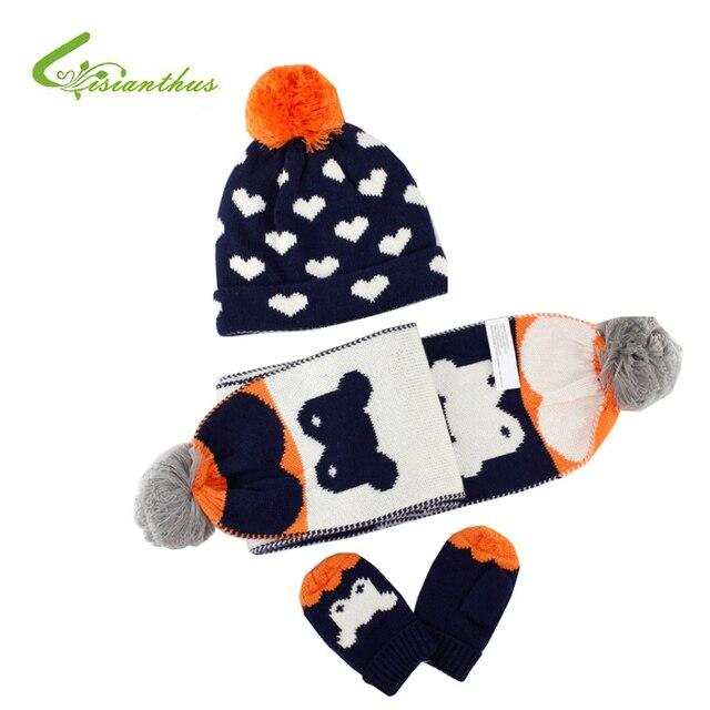 3 piezas invierno Bebé sombrero con la bufanda y guantes de dibujos ...