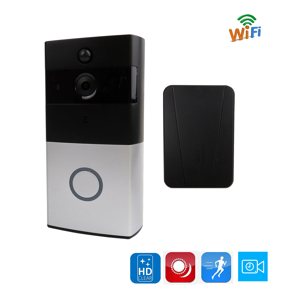 Free Shipping Wireless 720P HD Wifi Video Doorbell Intercom Door phone Camera Supports Battery Motion Detection + Indoor Ringer