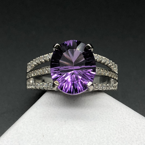 Image 3 - new design amethyst rings natural gemstone oval 10*12mm with 925 sterling silver fine jewelry anniversary gift for women wife