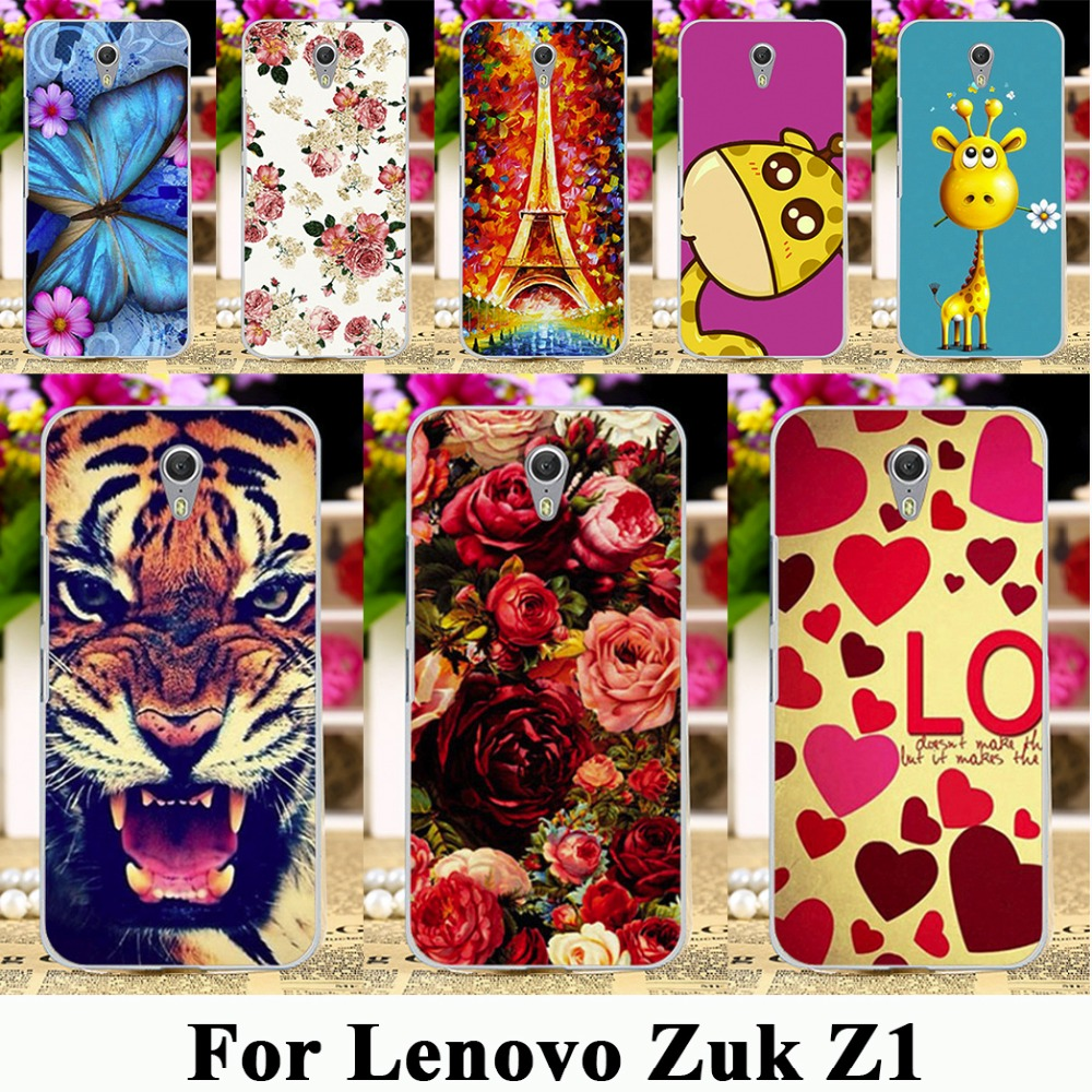 Plastic Painted Phone Cases For Lenovo ZUK Z1 Z1221 5.5 inch 4G Cases Covers Housing Phone Rose Peony Flowers Background bag