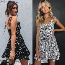 купить Fashion Sexy Sweet Black Stripe Dot Women Dresses 2019 V-Neck Spaghetti Strap Zebra Pattern Party Beach Holiday Dress Vestidos онлайн