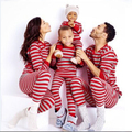Hot Sell Christmas Family Matching Pajamas Striped Boy Girls Christmas Pajamas Sleepwear Pjs Suit RedStripes