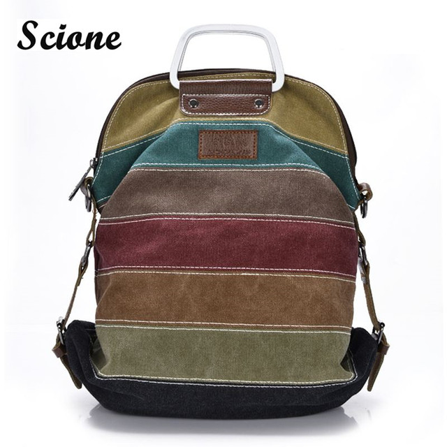 high quality k2 canvas backpack patchwork rainbow color block women canvas backpacks rucksack Multifunction girls crossbody bag