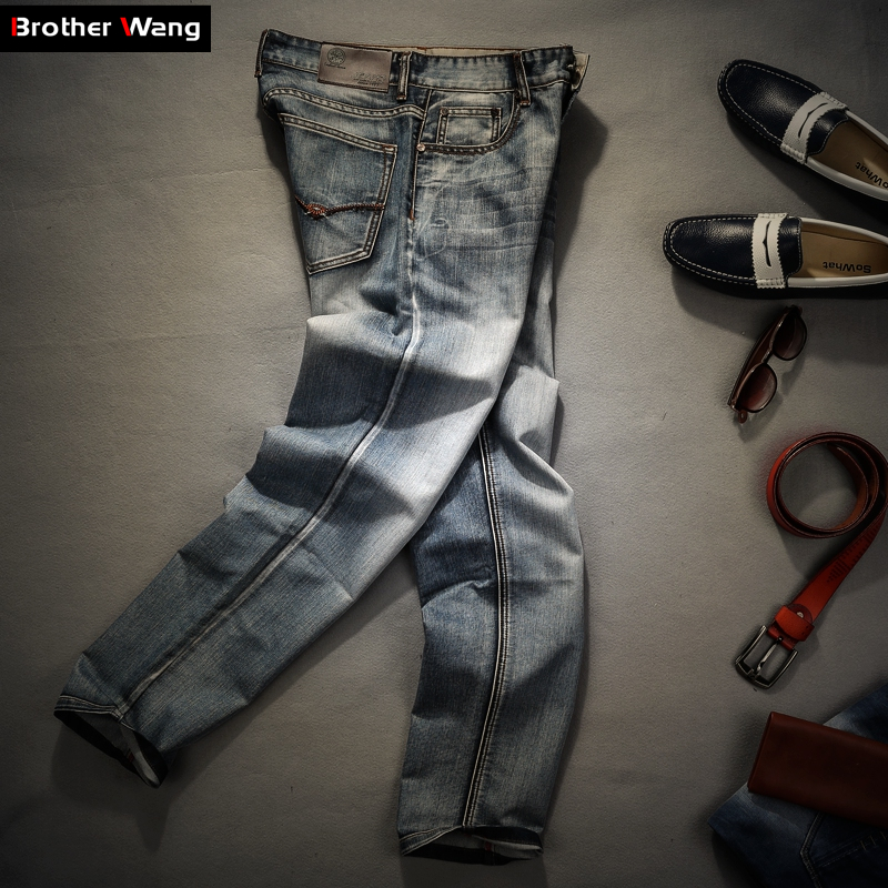 Image 4 - Brother Wang Brand men's clothing 2019 New Men 's Jeans fashion Retro Slim small straight jeans for men casual men trousers-in Jeans from Men's Clothing