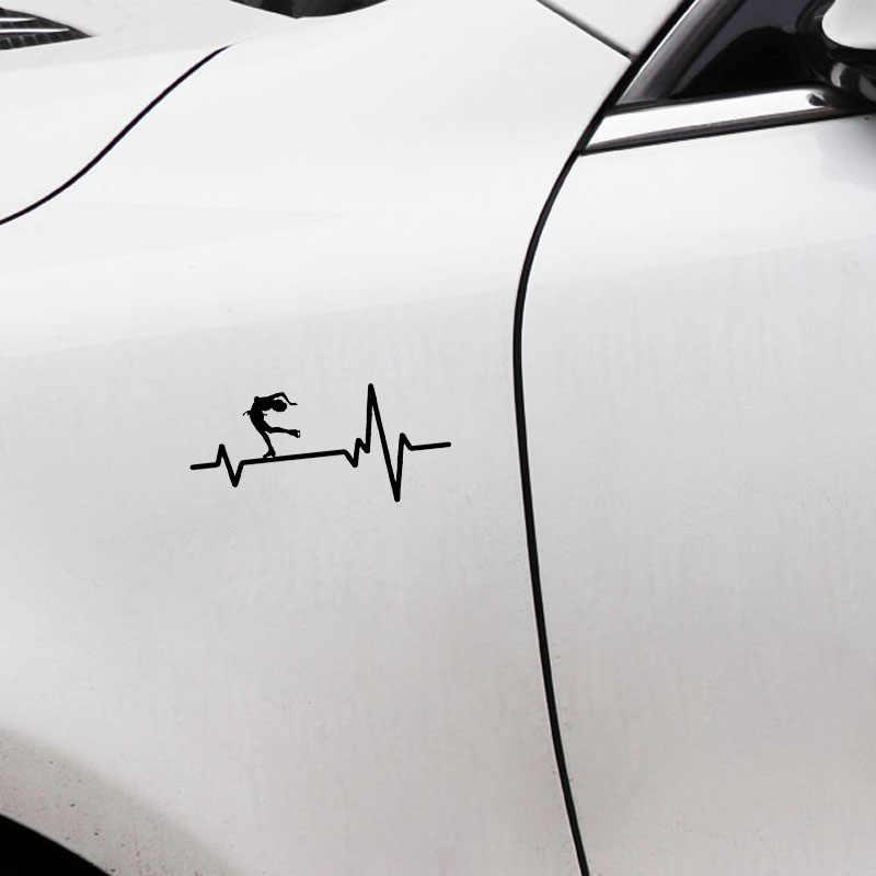 YJZT 16,4 см * 7,6 см забавные коньки спин короткие волосы девушка сердцебиение винил черный/серебристый автомобиль стикер C22-1223