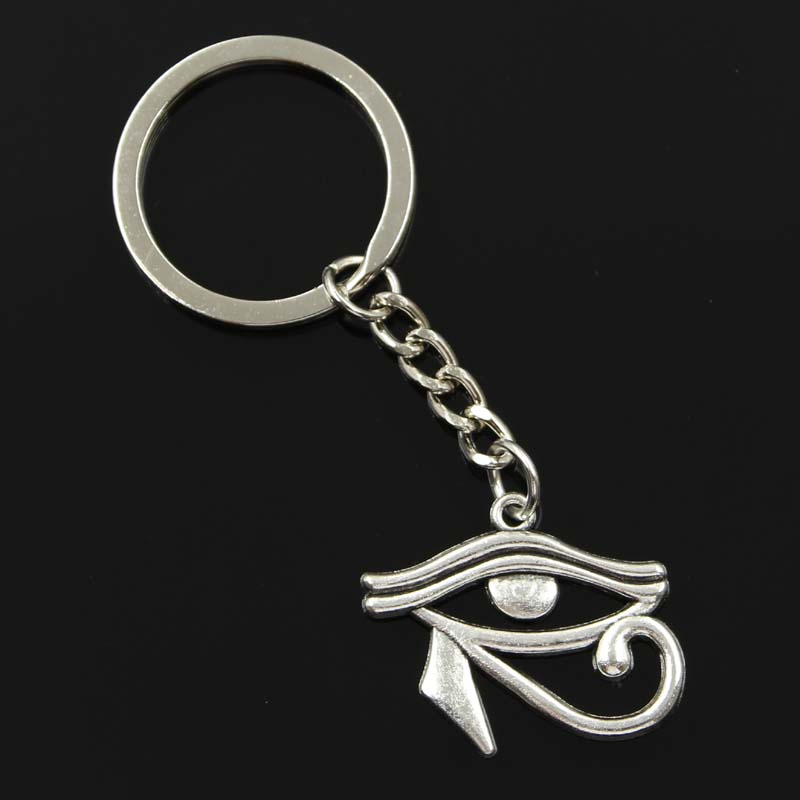 New Fashion Men 30mm Keychain DIY Metal Holder Chain Vintage Ancient Egypt Eye Of Horus 33x27mm Silver Color Pendant Gift