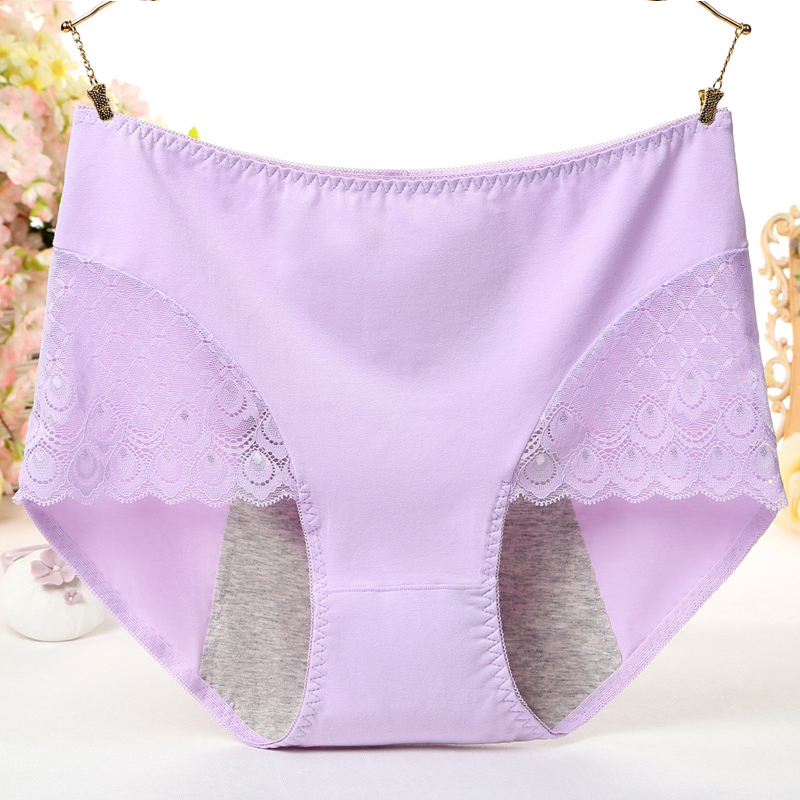 Large Size High Waist Period   Panties   For Women Big Sexy Lace Menstruation Briefs Cotton Menstrual Leak Proof Plus Size Underwear
