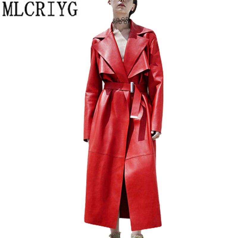 Роскошный Новая мода 2018 Для женщин весна осень красный куртка из искусственной кожи женские мотоциклетные Прохладный Кожа PU пальто Верхняя... ...