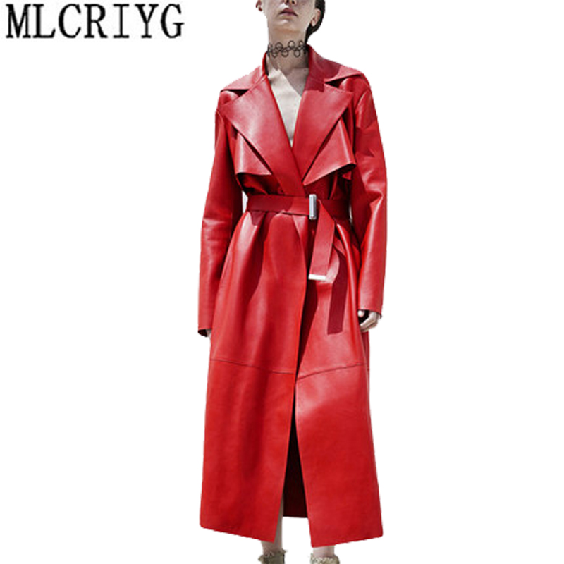 Luxurious New Fashion 2018 Women Spring Autunm Red Faux Leather Jackets Lady Motorcycle Cool Pu Leather Overcoat Outwear LX69