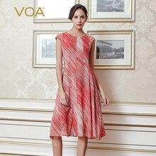 VOA 2017 Summer Brief Casual Pink Printed Short Sleeve Silk Slim Dress Plus Size Mid Waist Women A Line Dress A8707