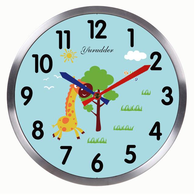 Newest 12 Inches Animal Giraffe Cartoon Design Metal Frame Modern Fashion Children Room Round Wall Clock Decorative Wall clock