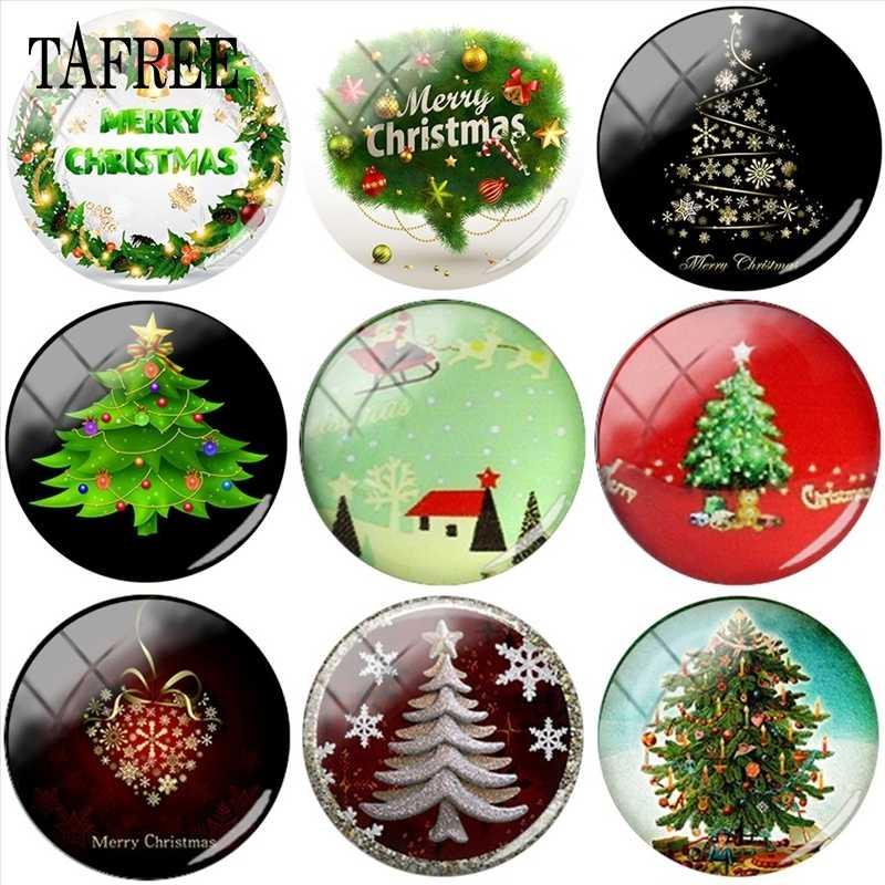 """TAFREE Рождественское дерево, искусство, картинка 25 мм стеклянный кабошон и стеклянный купол аксессуары для брелка ожерелье Рождественский подарок """"сделай сам"""""""