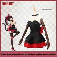 Anime DATE A LIVE Tokisaki Kurumi Black Cat Cosplay Costume Dress Uniform Halloween costume for Women NEW FreeShip