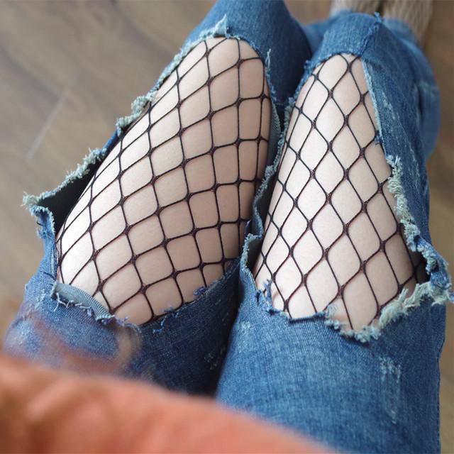 2017 Women Summer Black Long Fishnet lingerie Mot Mesh Body Stockings Sexy Women Big Net Thigh High Sexy Pantyhose Tights Hot