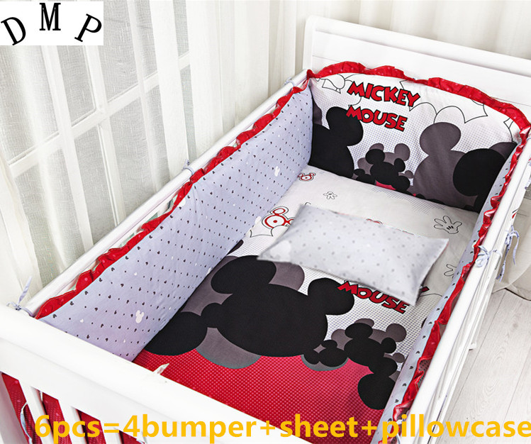 Promotion! 6PCS baby bedding set cotton crib bedclothes with bumper and fitted sheet,include(bumpers+sheet+pillow cover)