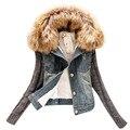 """Плюс размер Осень зима повседневная джинсовая куртка """"пилот"""" женщин однобортный тонкий меховым воротником теплый верхняя одежда жан трикотажные с длинным рукавом"""