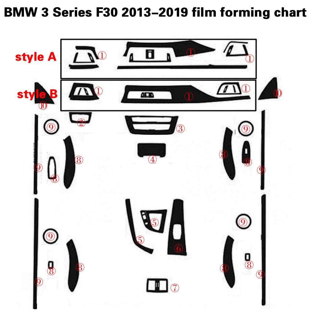 Voiture style fibre de carbone voiture intérieur Console centrale changement de couleur moulage autocollant décalcomanies pour BMW série 3 F30 F31 F32 2013-2019 - 6