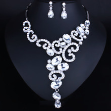 Fashion Jewelry Silver plated Crystal Rhinestones Necklace and Earrings set Women Bridal Wedding Jewelry sets
