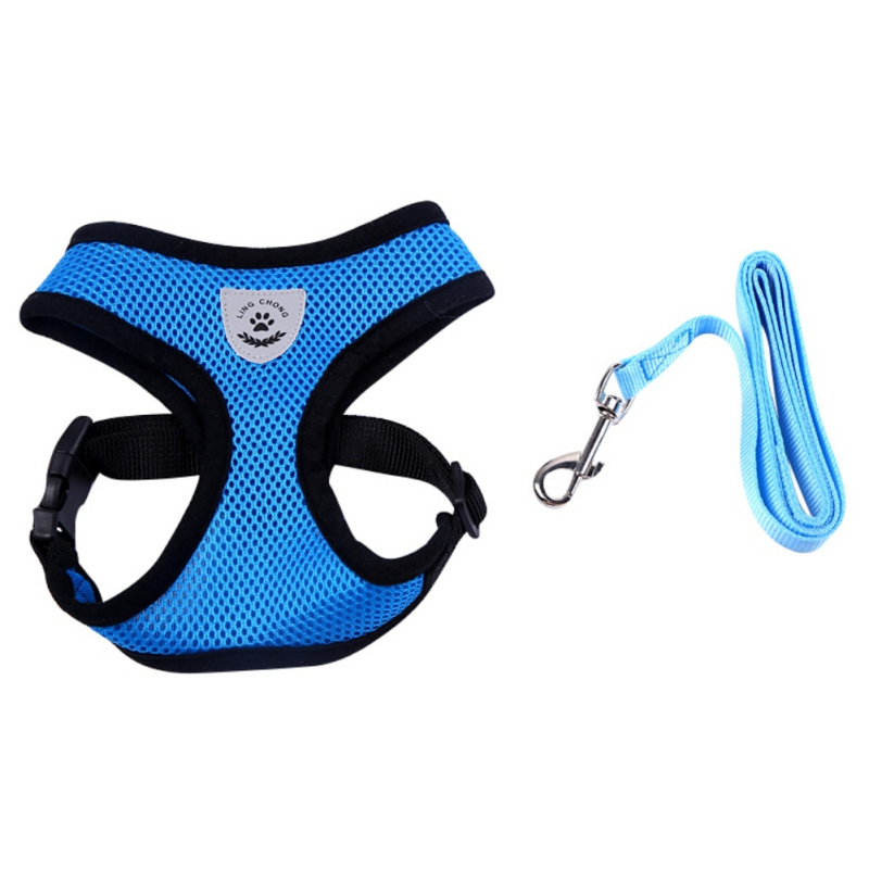 Pets Dog Harnesses Breathable Mesh Small Puppy Harness and Leash Set Vest Pink Red Blue Black For Chihuahua