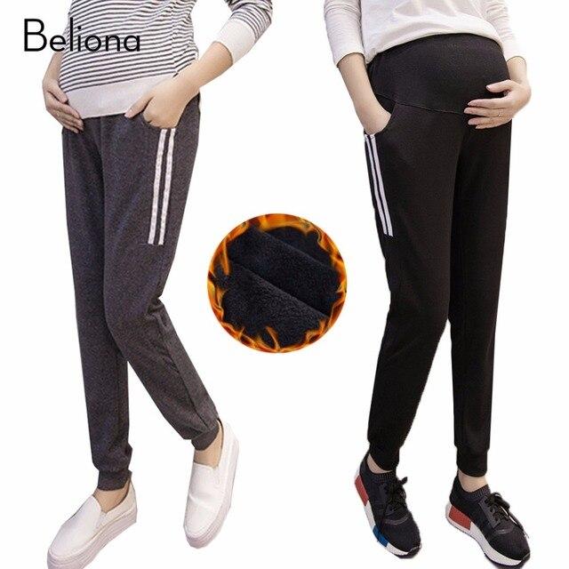 8f2e323e4 Invierno Cálido Pantalones Harén para Mujeres Embarazadas Leggings Embarazo  Ropa De Maternidad Más Tamaño Ropa de