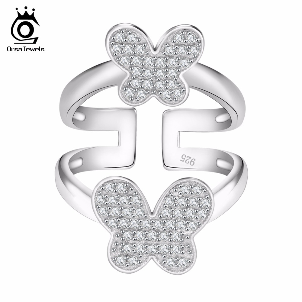 ORSA JEWELS Lead & Nickel Free Lovely Double Butterfly Shape Silver Ring for Women Micro Paved 70 Pcs AAA Cubic Zirconia OR63 mariposa en plata anillo