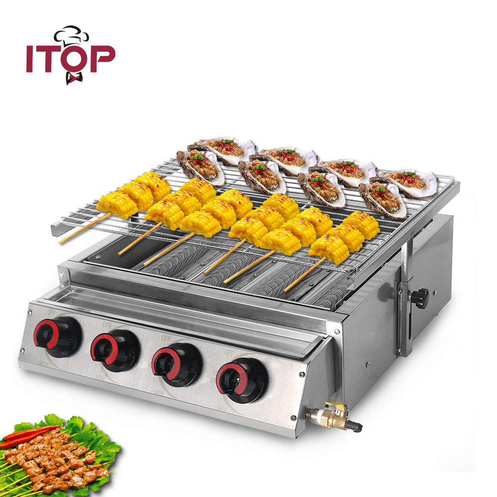 ITOP Stainless Steel LPG Gas BBQ Grill 4 Burners Smokeless Barbecue Grill With  Glass Shield Cover For Outdoor Picnic Roasting
