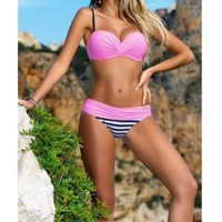 Summer Sexy Women Bikini Set Push Up Bra Swimwear Swimsuit Bathing Stripe Swimsuit 7 Colors
