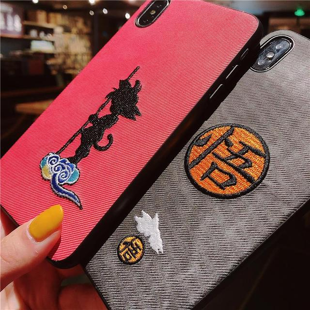 Dragon Ball Super Son Goku 3d Embroidery Fabric iPhone case