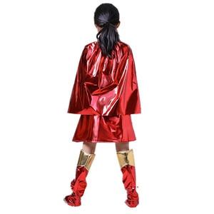Image 3 - ילדים סופר בנות שמלת קוספליי תלבושות סופרמן סופרוומן חצאית חליפת נעלי סופר hero פלא ילדי בנות סופר Hero בגדים