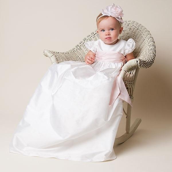 все цены на 2017 New Flower Girls Dresses For Wedding Gowns Ankle- Length Baby Girl Clothes Satin First Communion Dresses for Girls онлайн