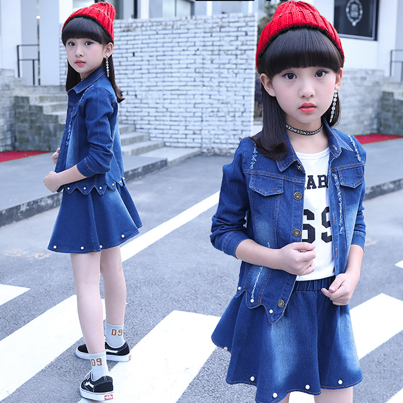 все цены на 3 Pieces Kids Clothes Girls 11 Years Denim Coat Outfits Teenager Girls Clothes Suit Skirt Long Sleeve T-shirt Children Clothing онлайн