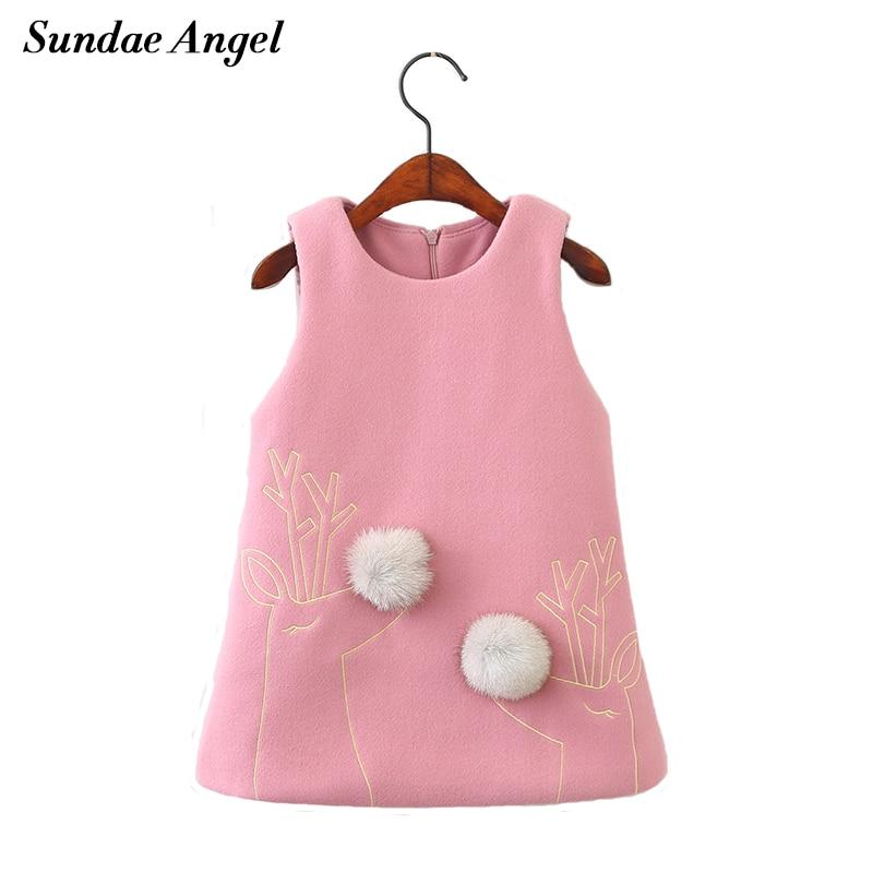 Sundae Angel Warm winter dress girl Round Neck Fur Ball Giraffes Girls dress thicken girls warm for children's Clothes 2-7 Year