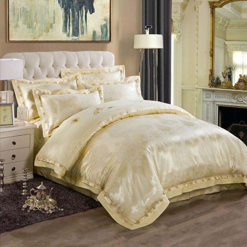 noble european duvet cover set light beige boho style print linens silk cotton jacquard queenking size bedding sets