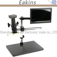 """1080 P 60FPS HDMI USB HD Beeinflussten Labor Mikroskop Kamera TF Video + 180X/300X C-mount-objektiv + Dual Arm Stereo Tischständer + Licht + 8 """"LCD"""