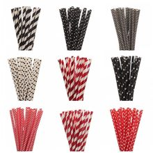 New 25pcs/lot Red Black Paper Straws For Kis Happy Birthday Wedding Christmas Decorative Party Supplies Creative Drinking Straws(China)