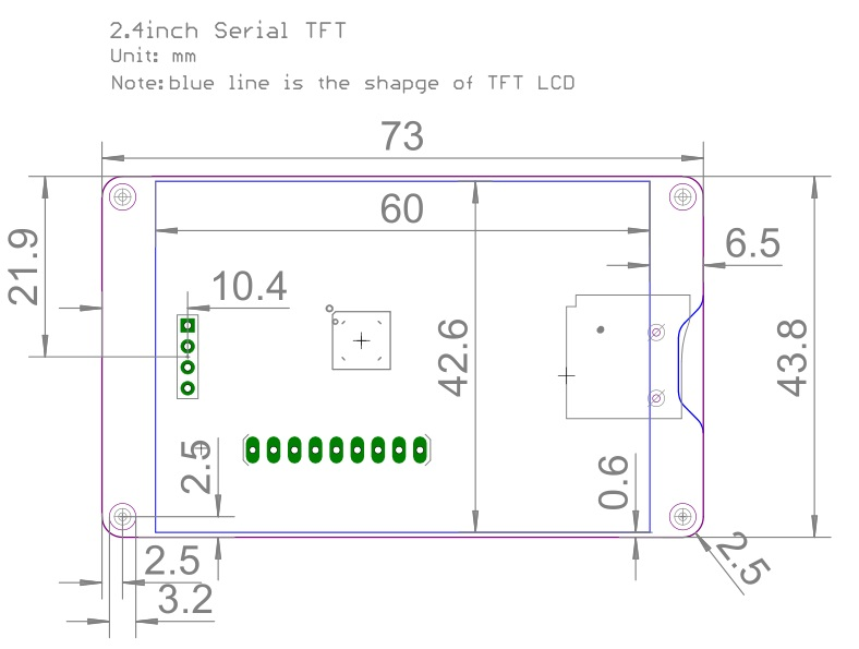 2.4 inch Serial TFT LCD without touch pad Dimensions
