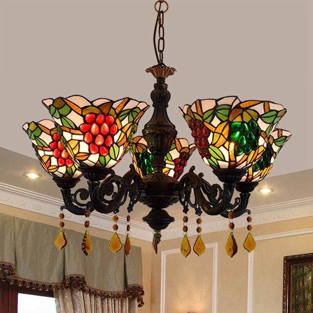 Amerikanischen Tiffany farbige glas wohnzimmer, schlafzimmer, kristall, trauben, bar, Internet bar, 5 lampen.