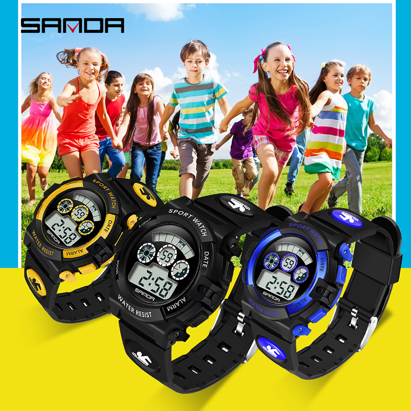 SANDA Kids Watches Outdoor Sports Luminous Stopwatch Date Week Alarm Children Watch Waterproof Girls Watches Kids Boys Clock