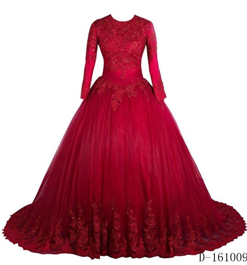 Vintage Wedding Dresses Red: Vintage Lace Long Sleeve Muslim Wedding Dress Turkey