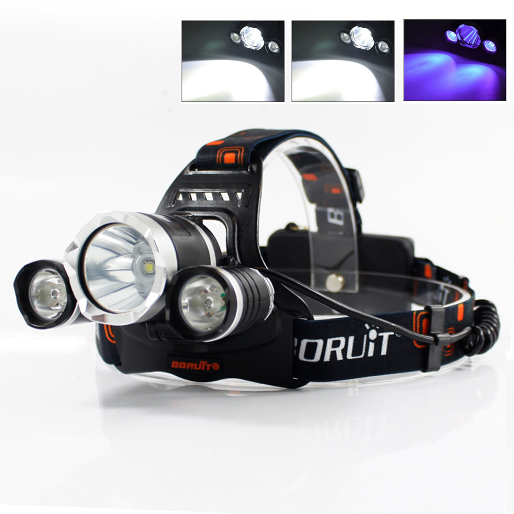 BORUIT UV 5000Lm T6 LED Headlight 3 Modes High Power Headlamp Purple Light For Fishing Hunting 18650 Battery Head Torch RJ-3000
