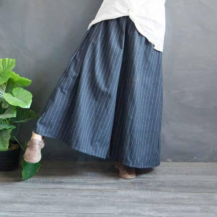 2019 Spring Loose Striped Cotton Linen Trousers Casual Female   Wide     Leg     Pants   Retro Women Long   Pants