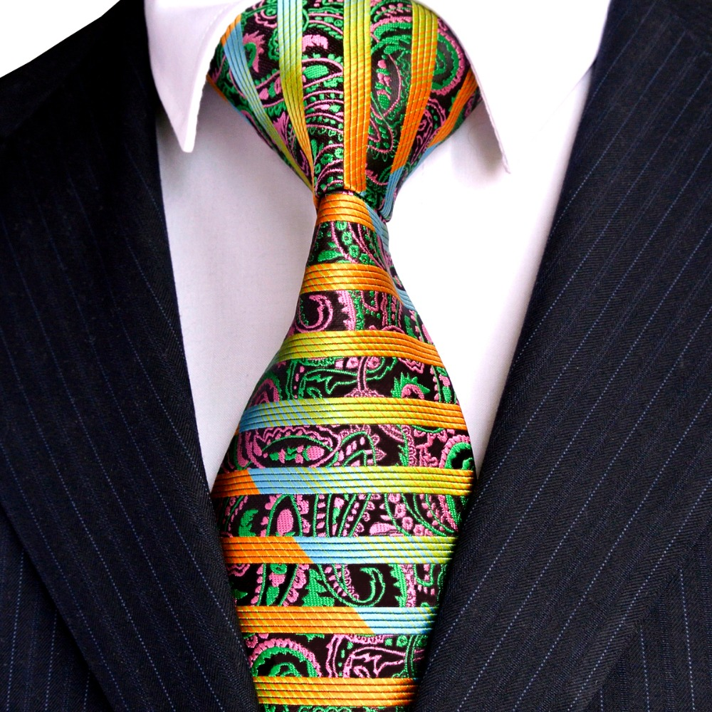 Free Shipping Stripes Paisley Multicolor Green Yellow Red Pink Black Mens Ties Neckties 100% Silk Jacquard Woven Wholesale New